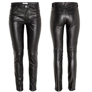 H&M Vegan Faux Black Leather Moto Skinny Pants